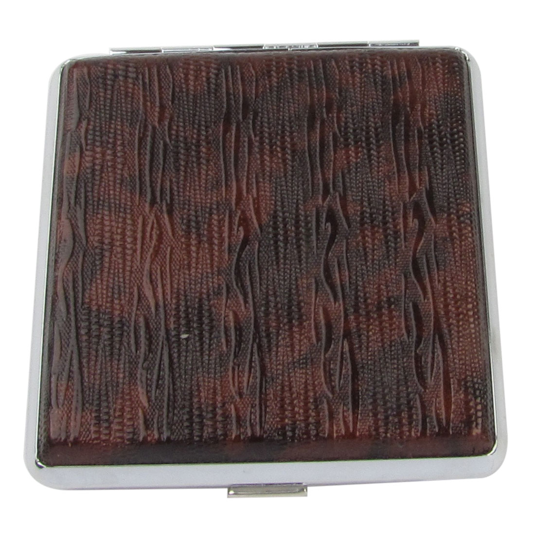 Man Dark Brown Snake Pattern Faux Leather Rectangle Cigarettes Tobacco Case