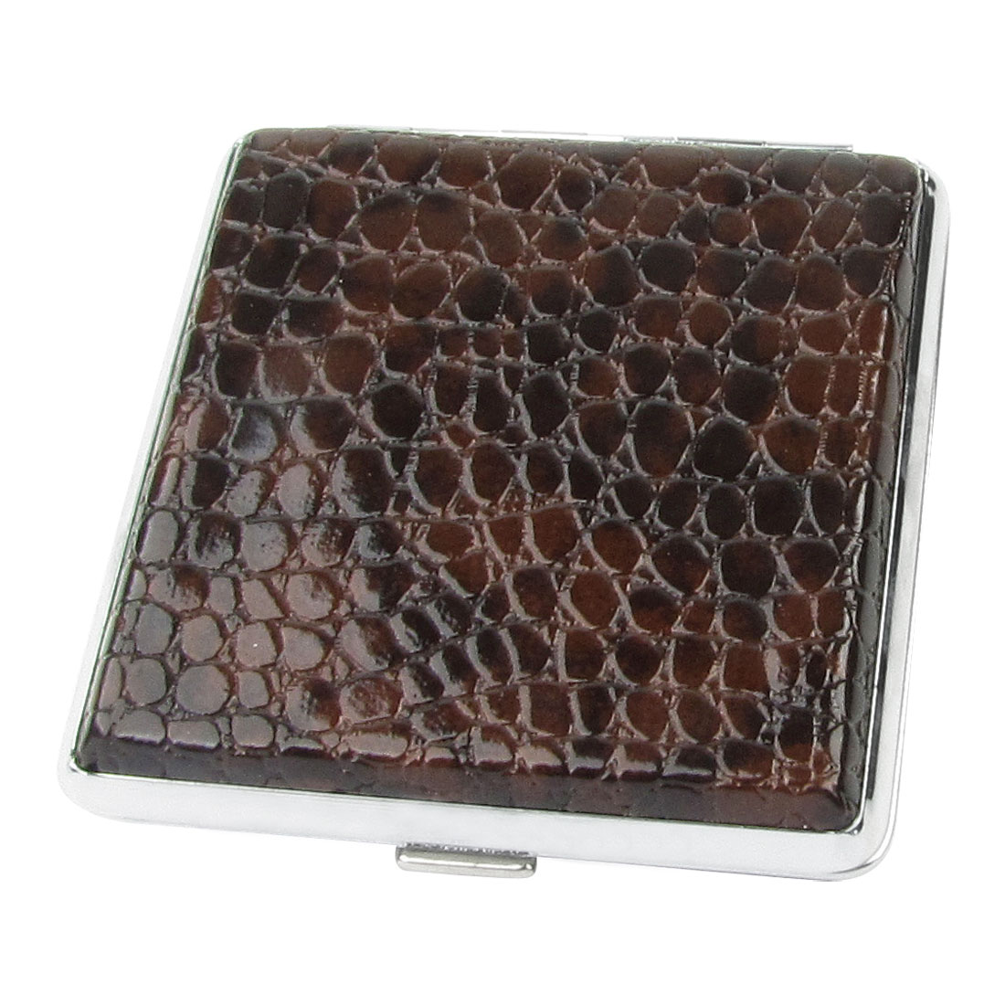 Man Alligator Pattern Faux Leather Metal Cigarettes Tobacco Case Box Dark Brown