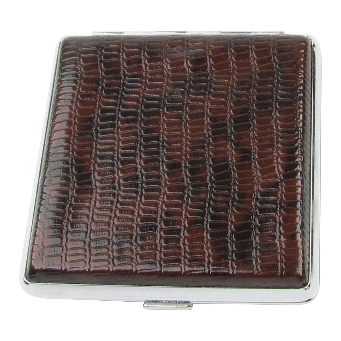 Man Stretchy Strap Fixed Side Spring Loaded Cigarettes Case Holder Dark Brown
