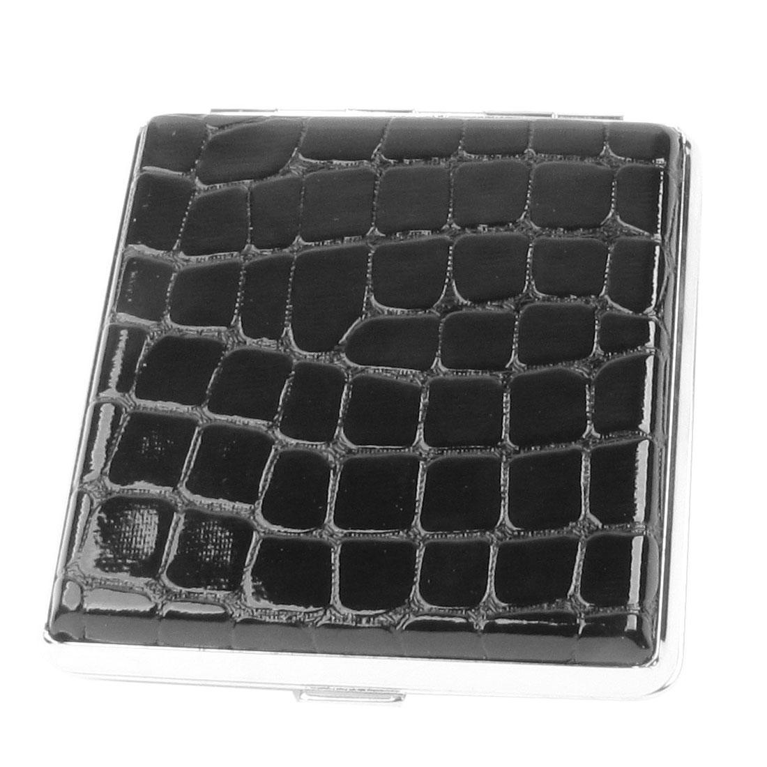 Men Black Alligator Pattern Faux Leather Metal Cigarettes Tobacco Case Box