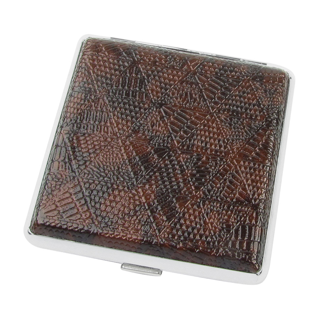 Triangle Pattern Textured Faux Leather Rectangle Metal Cigarettes Tobacco Case