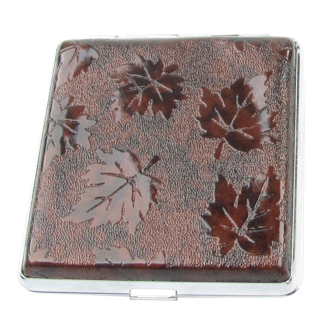 Brown Maple Leaf Pattern Faux Leather Coated Cigarettes Case for Man