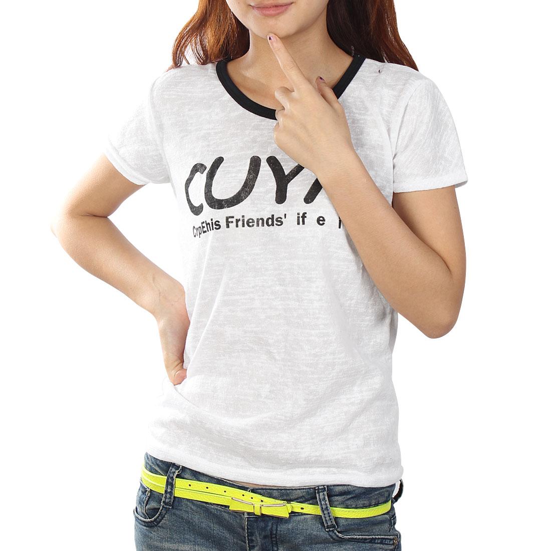 Leisure Round Neck T-Shirt Black White XS for Women