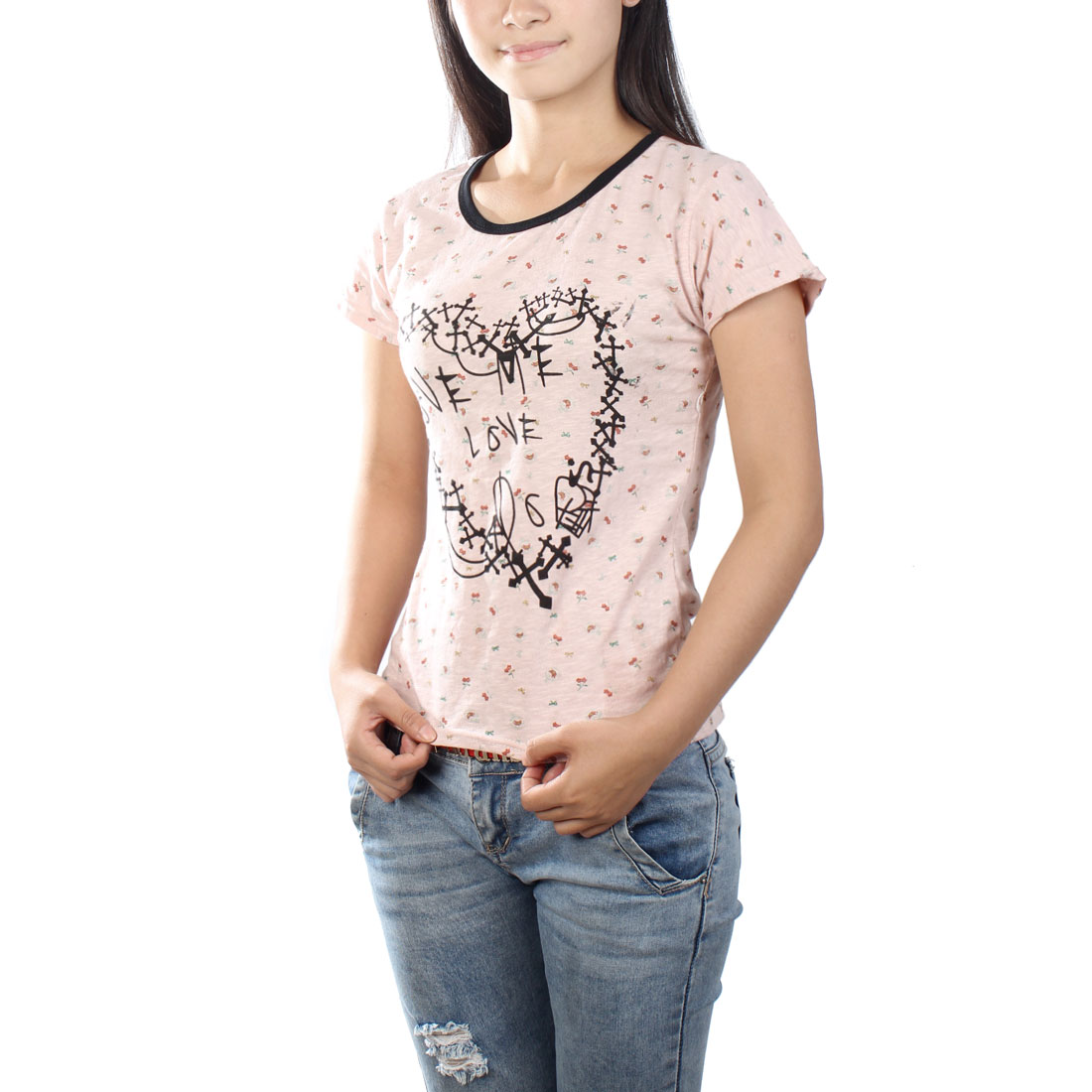 Ladies Round Neck Black Letters Print Casual T-Shirt Pale Pink XS