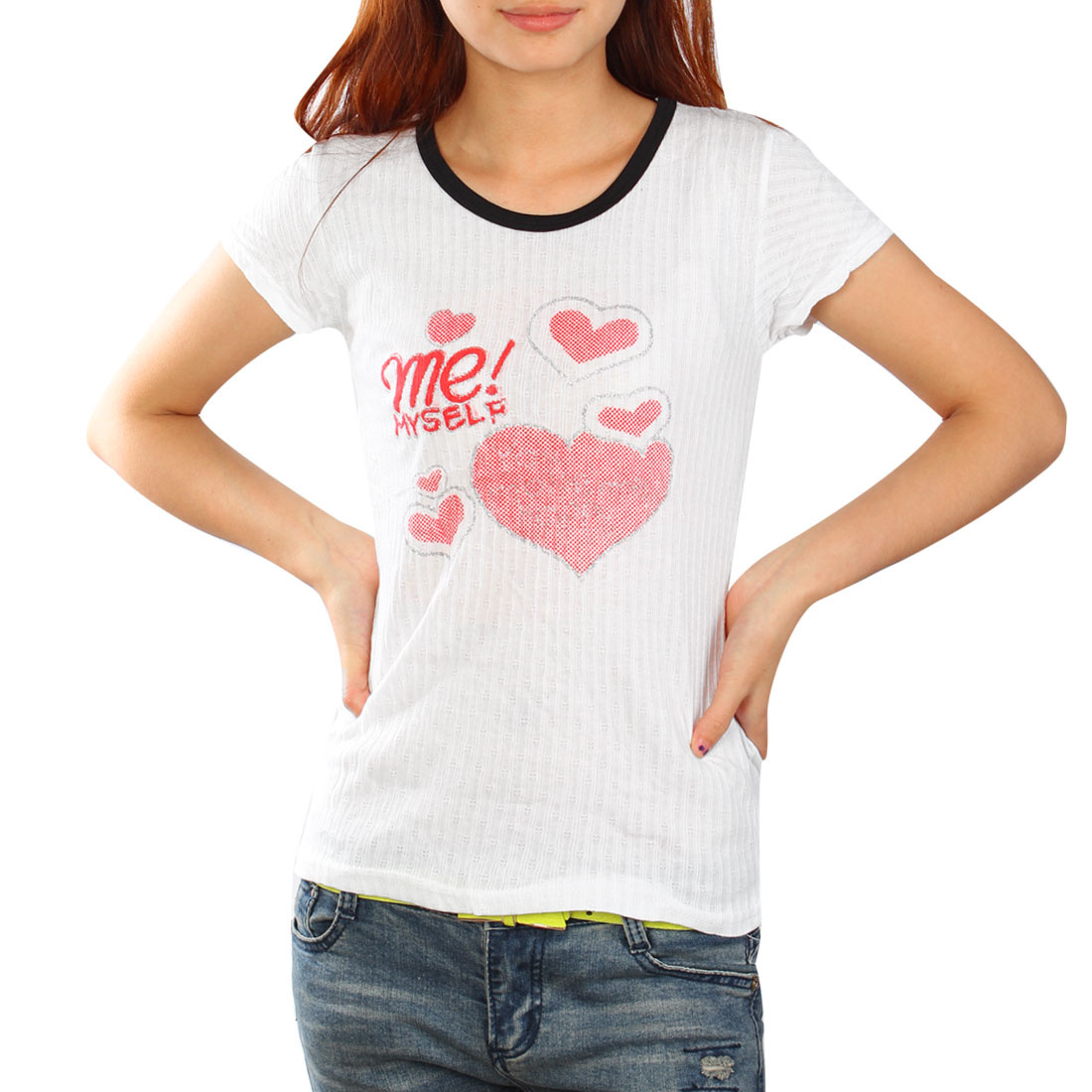 Woman Summer Casual Short Sleeve T-Shirt Red White XS