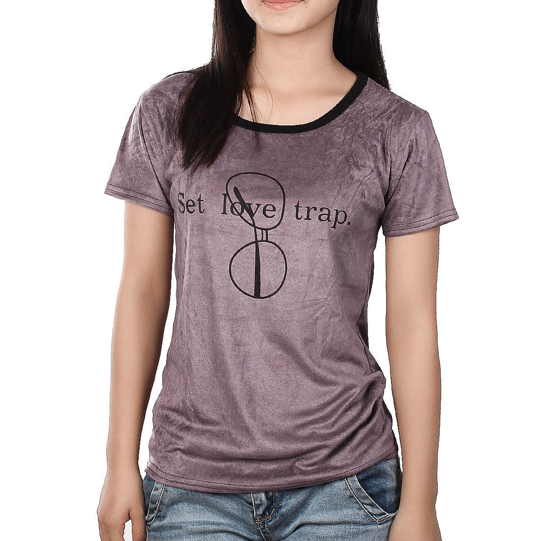 Black Round Neck Short Sleeve Purple T-Shirt XS for Ladies
