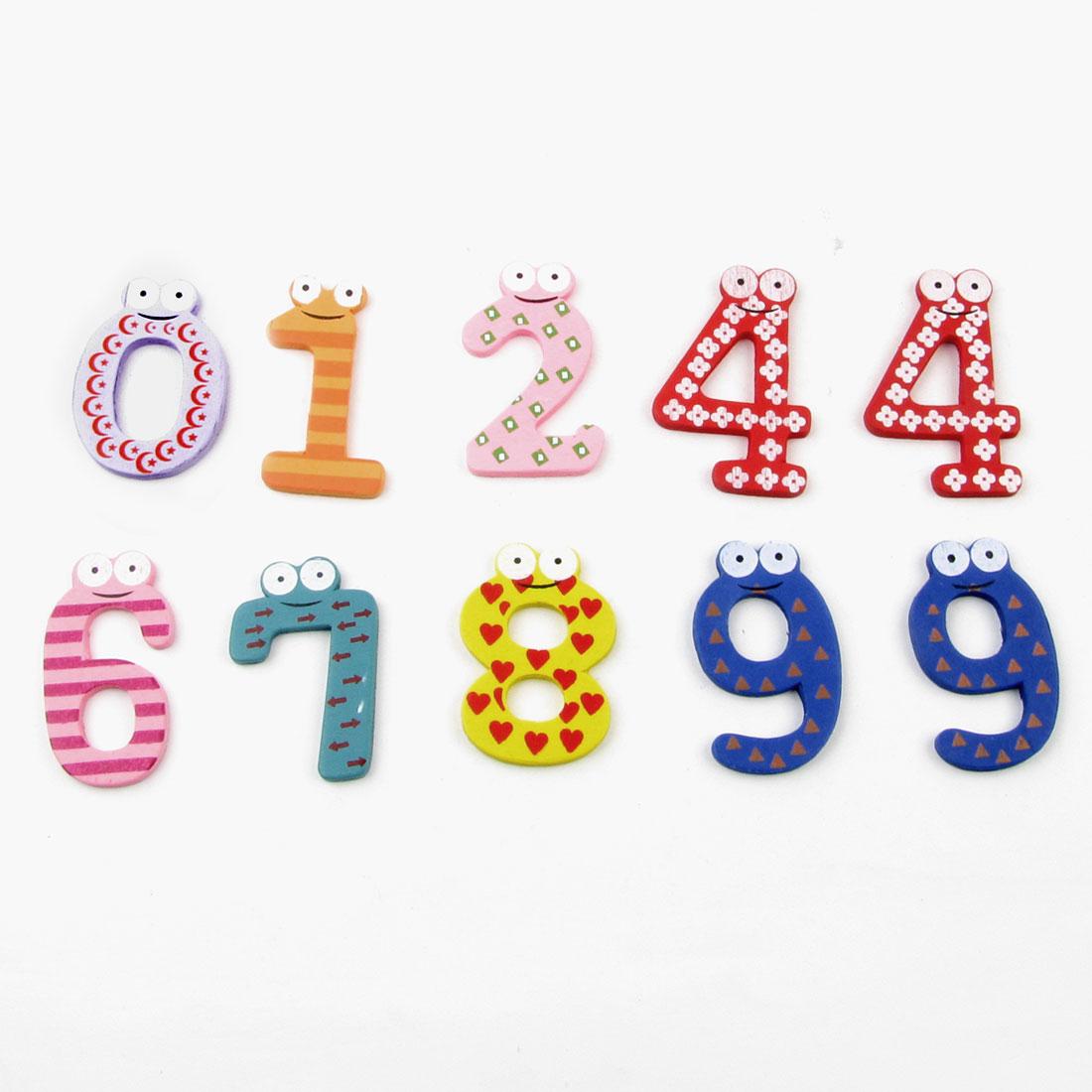Fridge Refrigerator Ornament Wooden Number Type Magnet Sticker Multicolor 10 Pcs