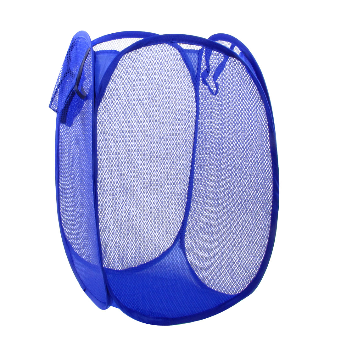 Home Foldable Blue Meshy Design Clothes Storage Laundry Basket Hamper