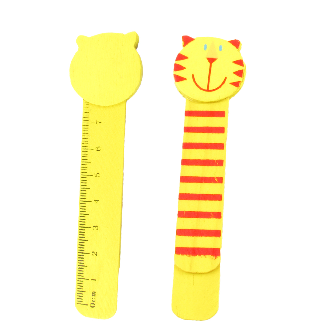 Yellow Red Cat Head Design Self Marking Bookmark Page Holder Clip Pair