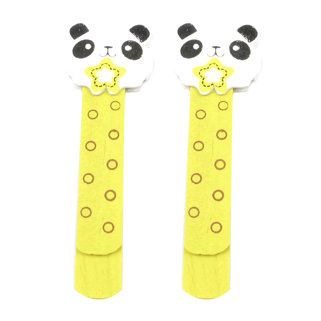 Yellow White Panda Head Design Self Marking Bookmark Page Holder Clip Pair