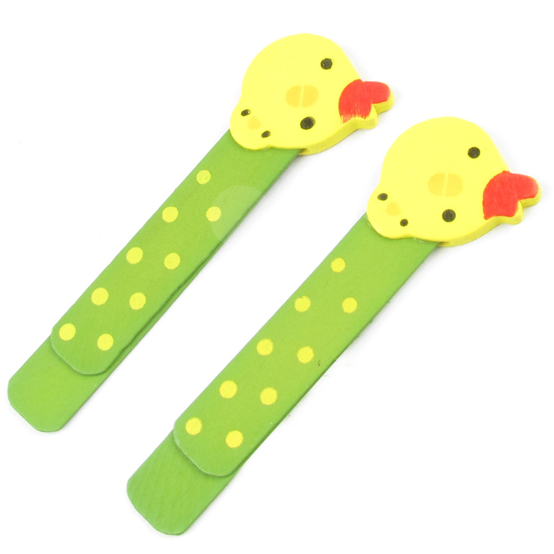 2 Pcs Green Wooden Chicken Head Design Cartoon Ruler Bookmark Book Clip