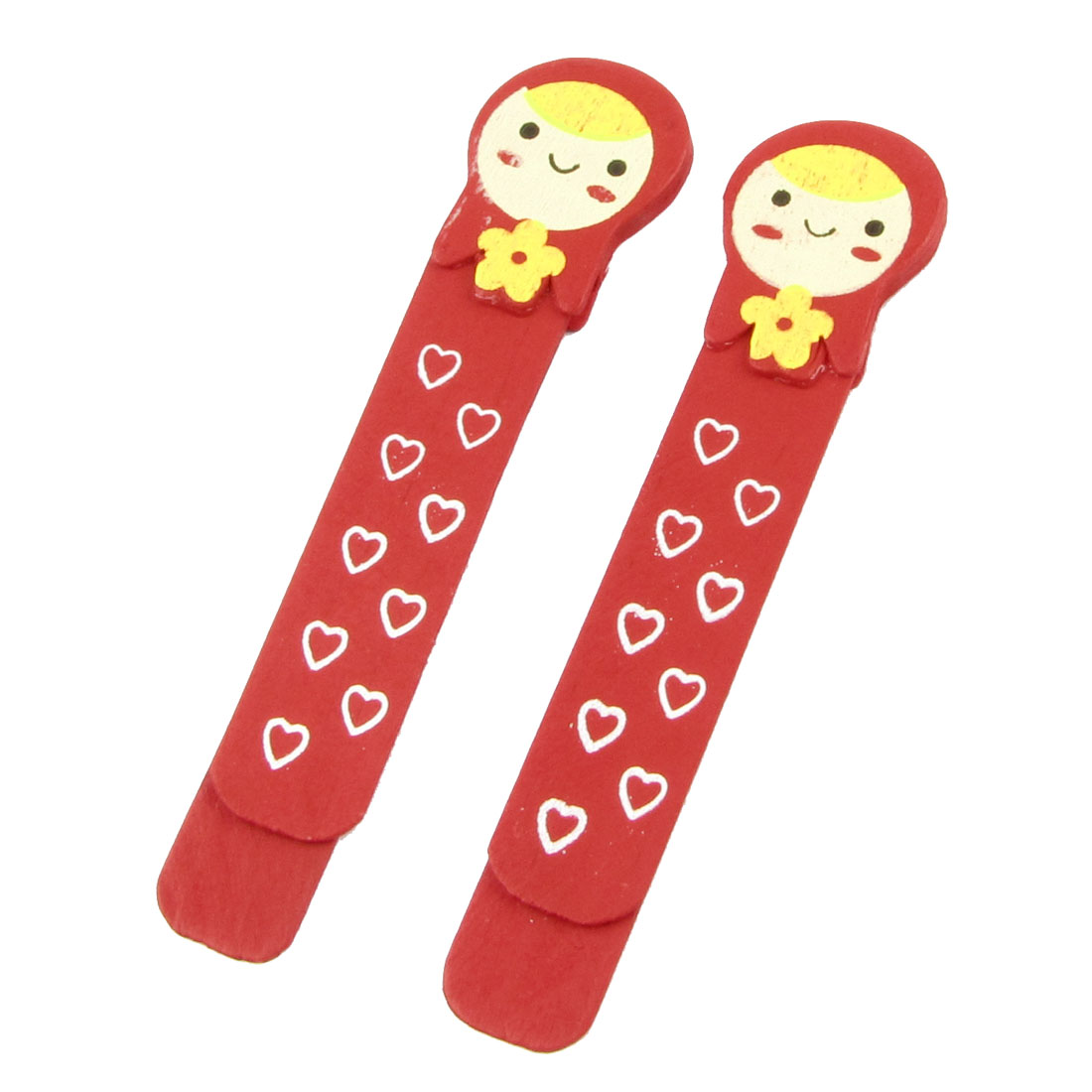2 Pcs Heart Pattern Baby Head Type Self Marking Bookmark Page Holder Clip