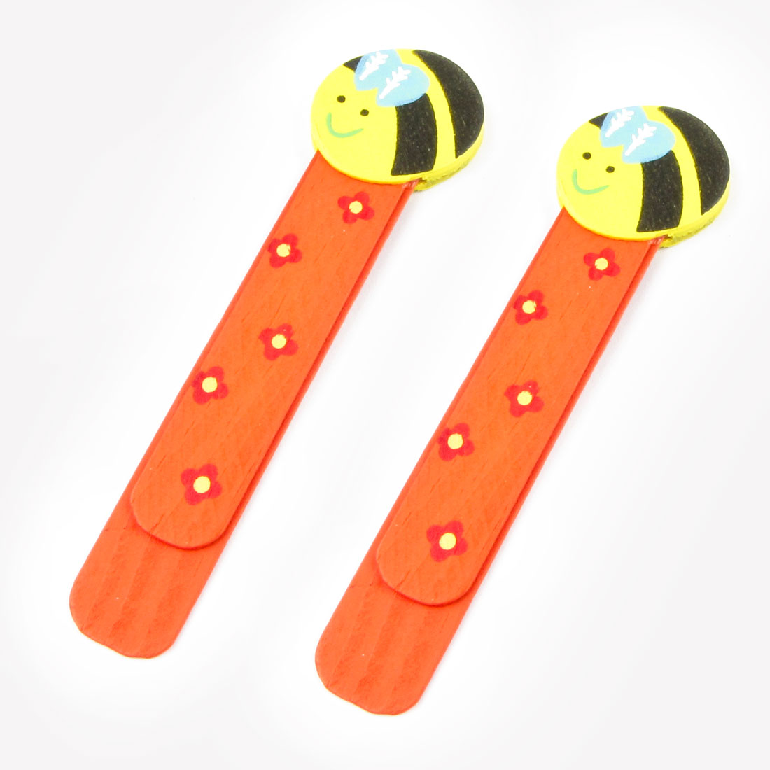 2 Pcs Bee Type Flower Pattern Cartoon Ruler Bookmark Book Clip Orange Red