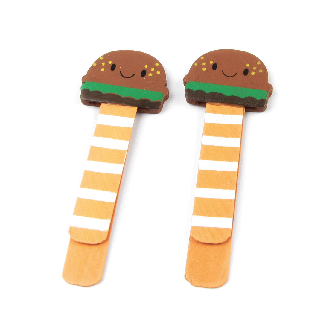 2 Pcs Hamburger Design Cartoon Self Marking Bookmark Page Holder Clip