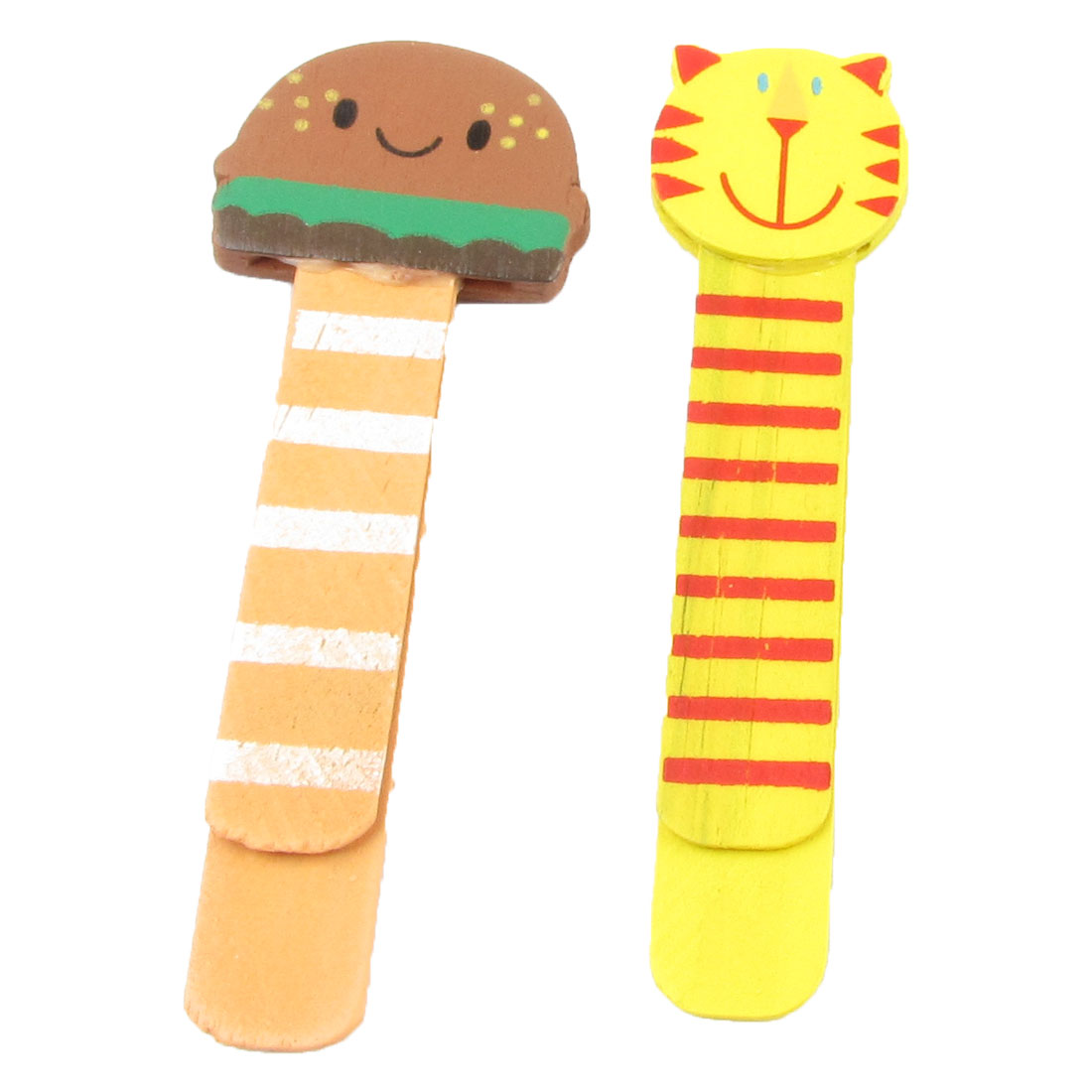 Pair Cat Head Hamburger Type Striped Pattern Cartoon Ruler Bookmark Book Clip