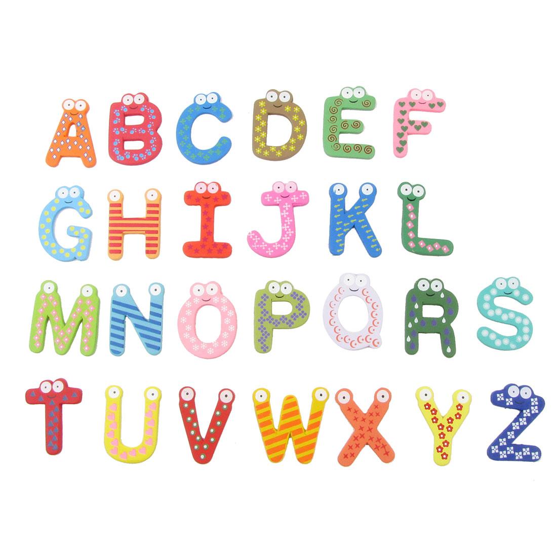 26 Pcs Fridge Refrigerator Colorful Wood Alphabet Design Magnetic Decor Sticker
