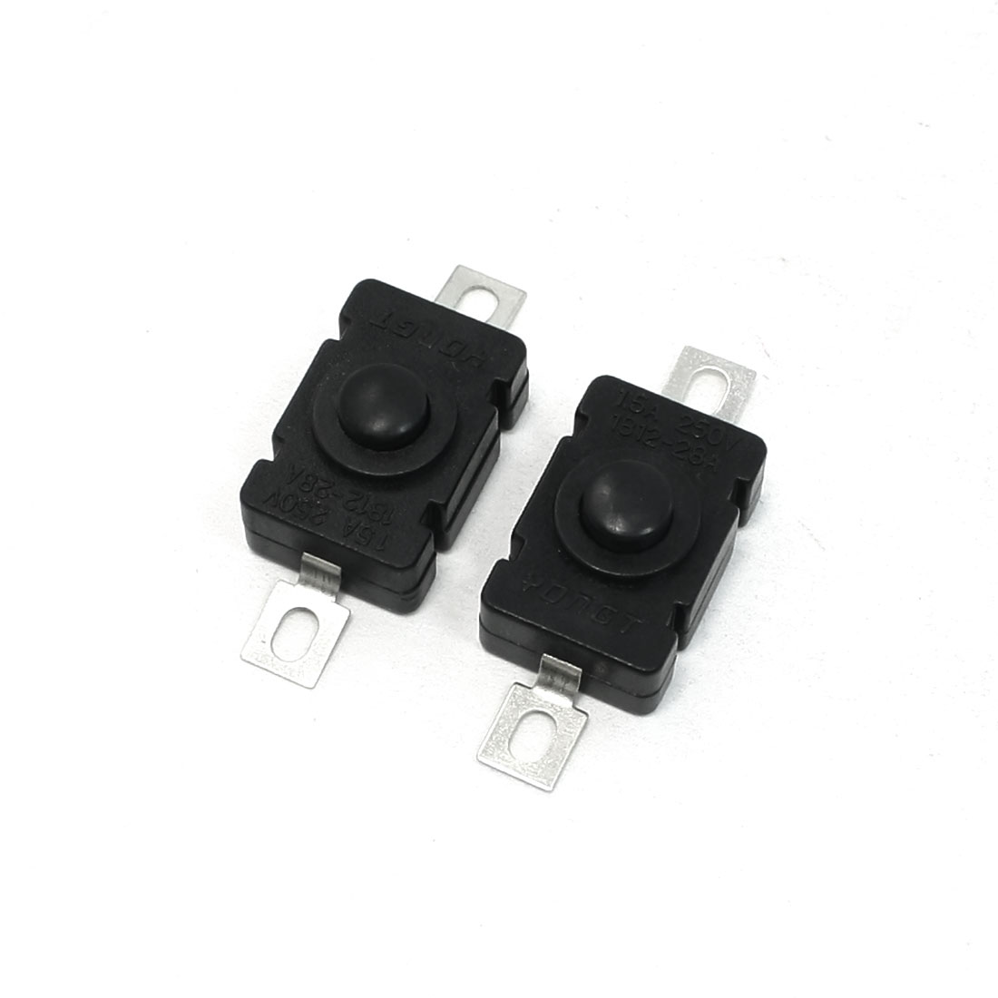 2 x Soldering Terminals Tactile Pushbutton Switch Black 17 x 11.5 x 10mm