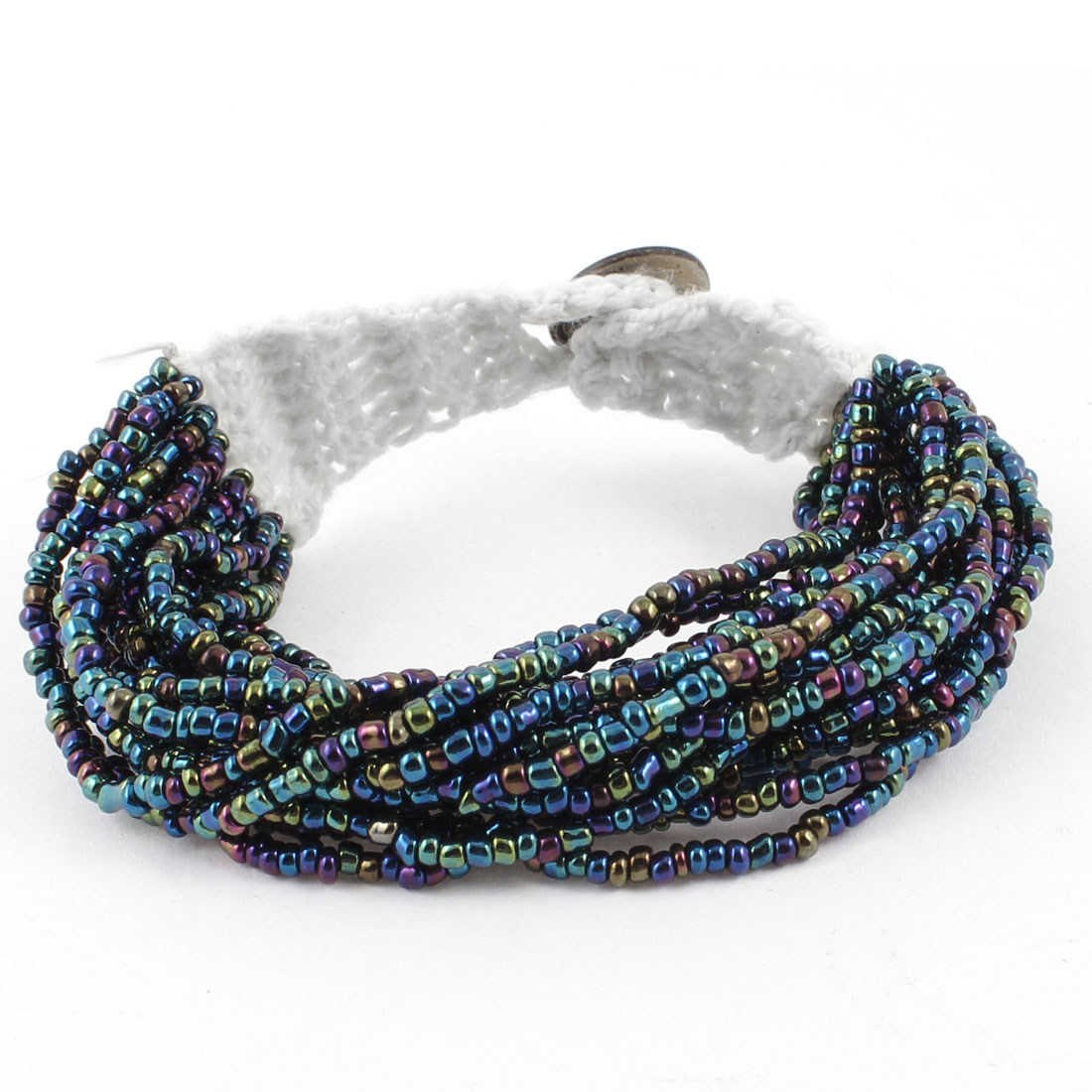 Colorful Multilayer Beads String Button Closure Wrist Bracelet for Women