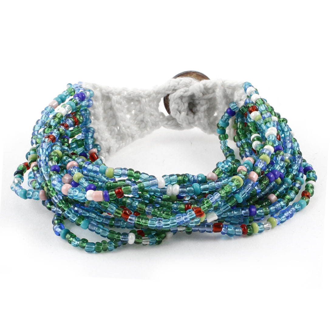 Knitting Detailing Button Closure Multilayer Beaded Bracelet for Women