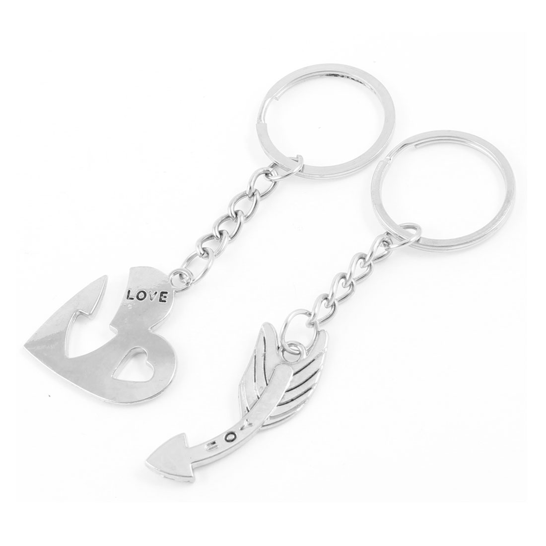 True Love Couples Lovers Key Rings Arrow Heart Decoration 2 Pcs