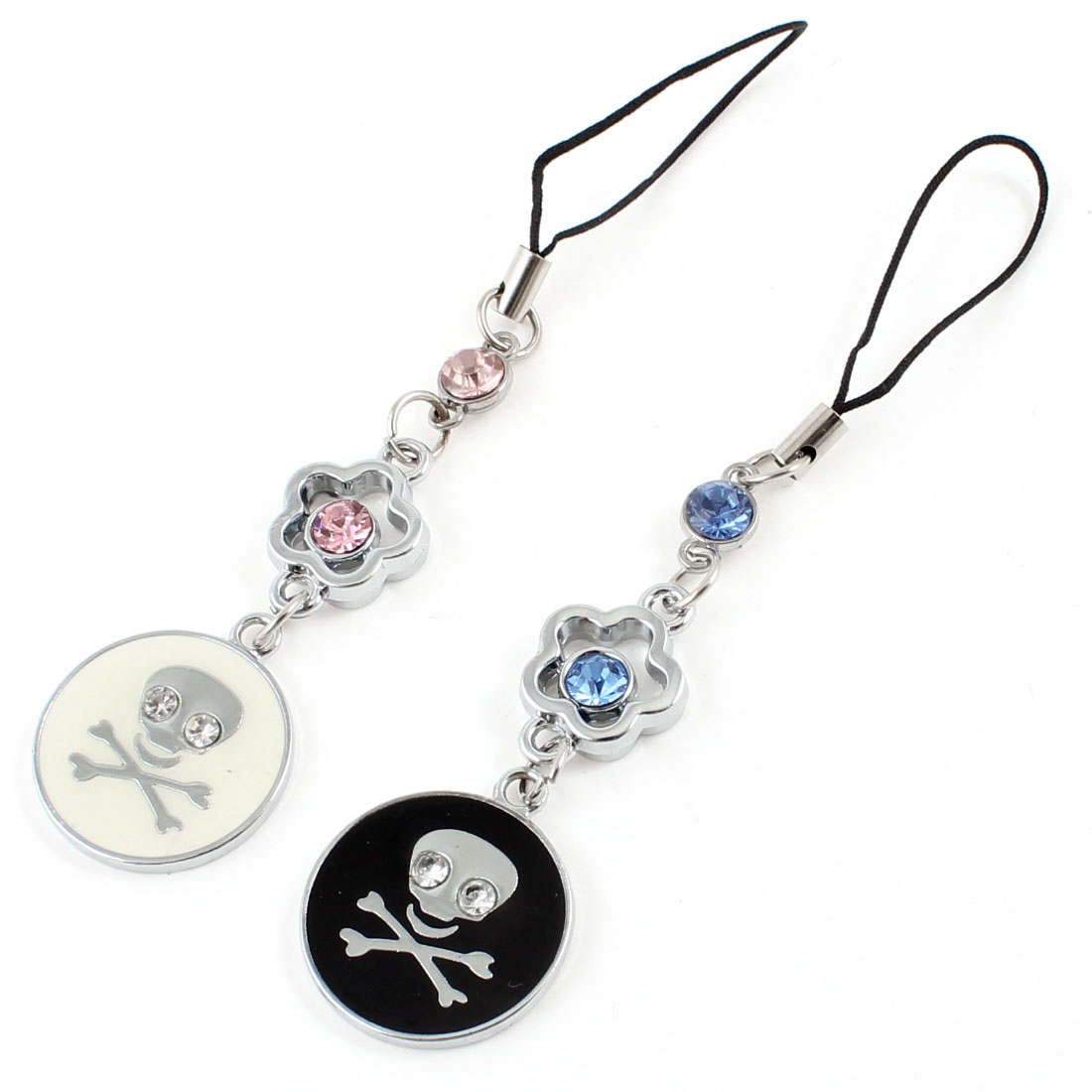 "Rhinestone Detail Round Skull Pendant Couple Cell Phone Strap 3.5"" Length"
