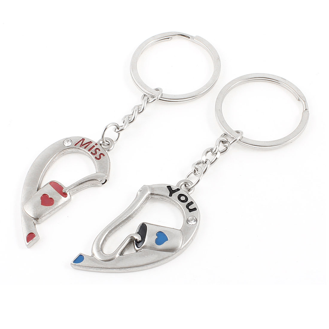 2 Pcs Valentines Gift Miss You Pattern Silver Tone Heart Shape Key Chain