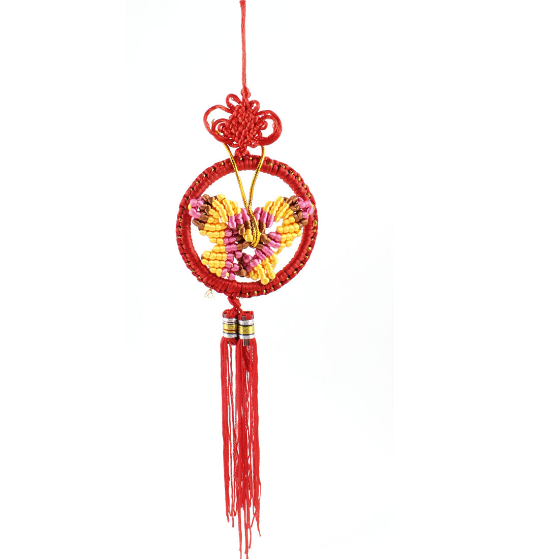 Car Decoration Butterfly Knit Tassel Chinese Knot Pendant Red