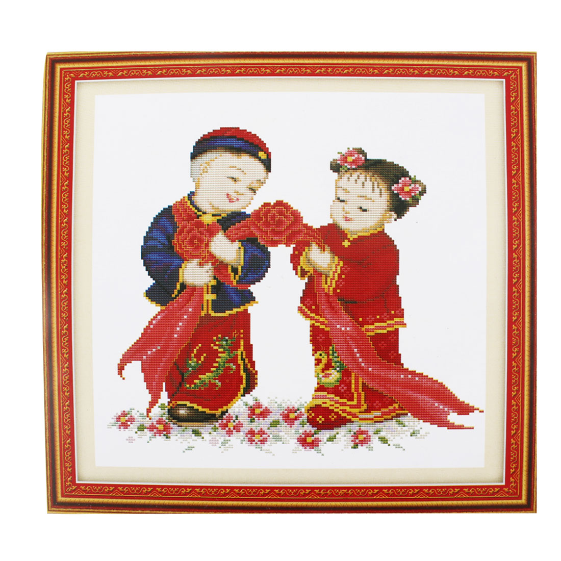 Ancient Style Couple Pattern Stamped Cross Stitch Counted Kit for Lady Woman