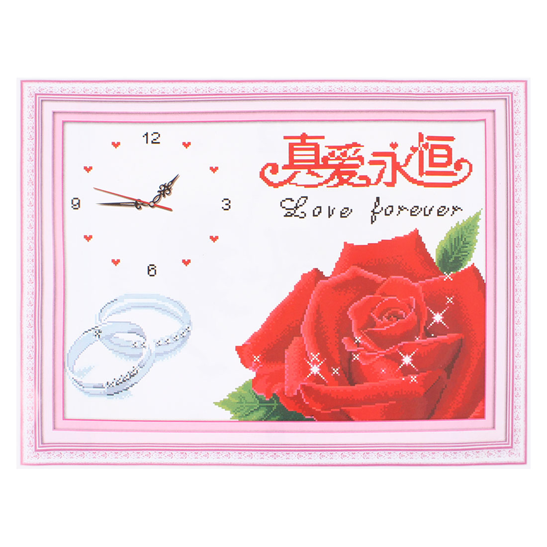 Rose Ring Digital Clock Printed Stamped Cross Stitch Counted Kit for Ladies Women