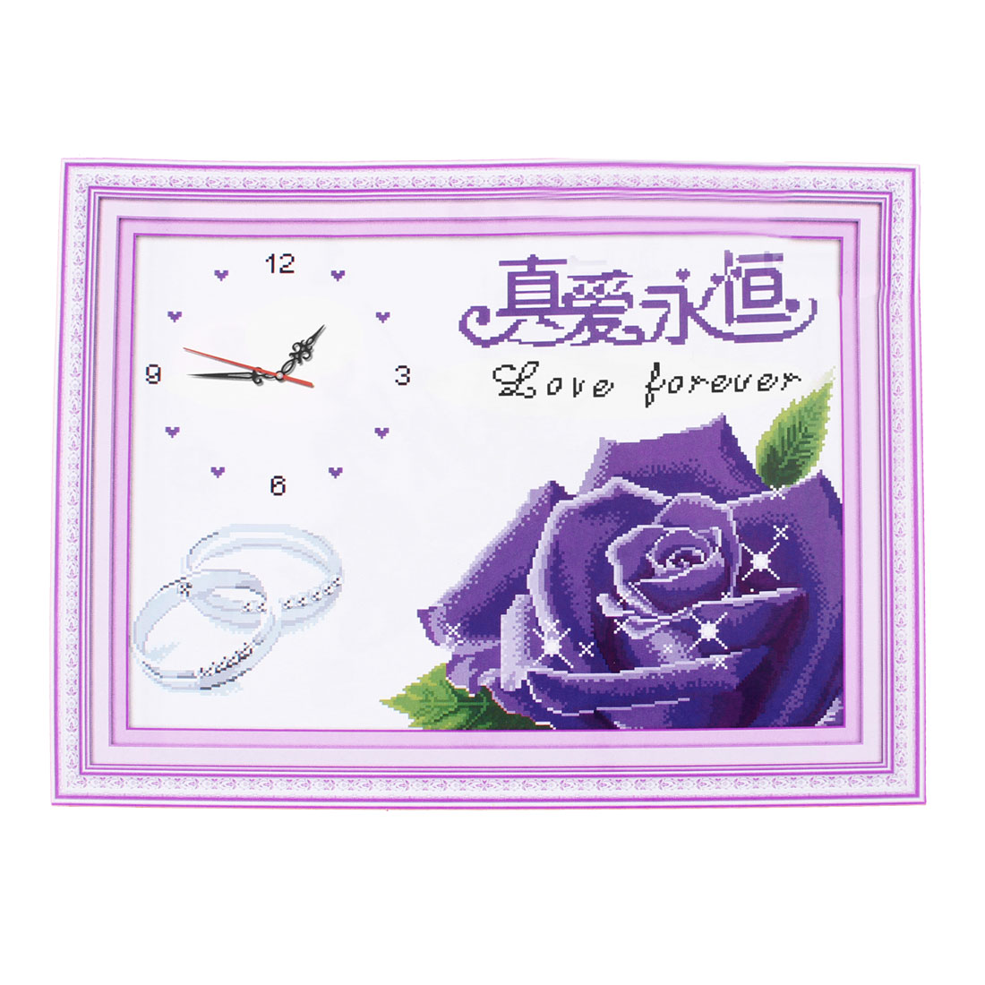 Rose Ring Digital Clock Printed Stamped Cross Stitch Counted Kit for Ladies