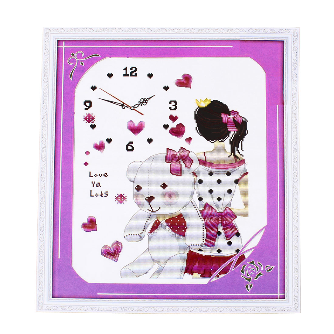 A Girl of Figure Digital Clock Pattern Stamped Cross Stitch Counted Kit for Lady