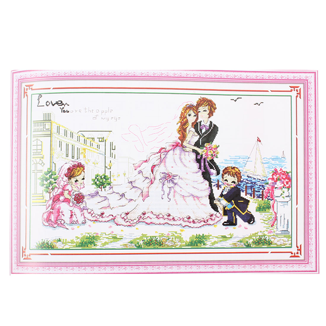 Romatic Wedding Pattern Stamped Cross Stitch Counted Kit for Ladies Women