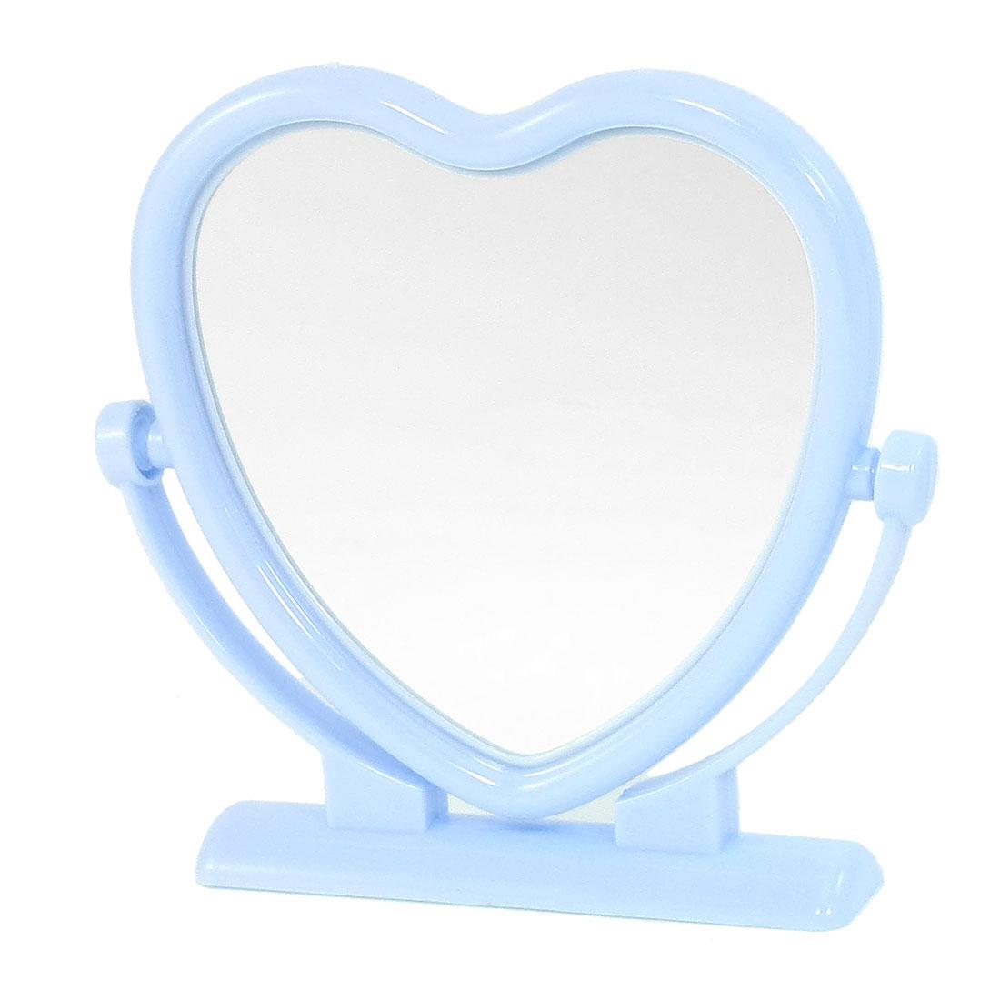 Sky Blue Plastic Frame Heart Shaped Butterfly Print Desktop Cosmetic Mirror