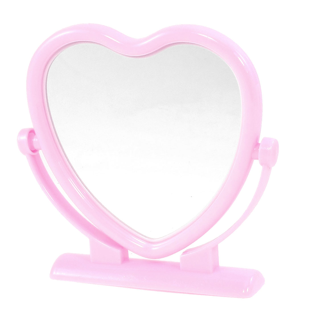 Pink Plastic Frame Heart Shaped Butterfly Print Desktop Cosmetic Mirror