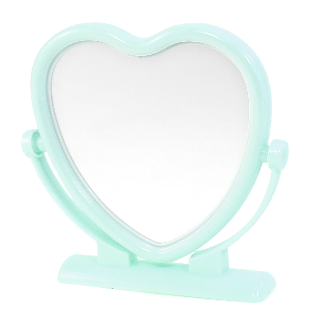 Ligth Blue Plastic Frame Heart Shaped Butterfly Print Desktop Cosmetic Mirror