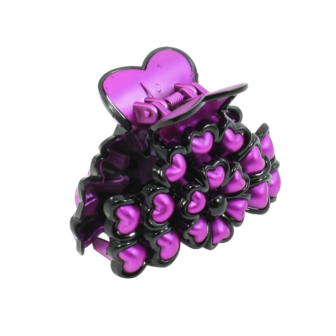 Purple Plastic Heart Shaped Decor Flower Style Hair Claw Clip for Ladies