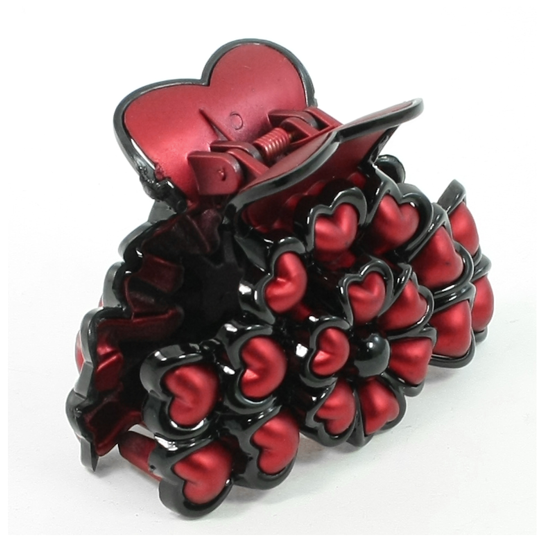 Red Plastic Heart Shaped Decor Flower Style Hair Claw Clip for Ladies