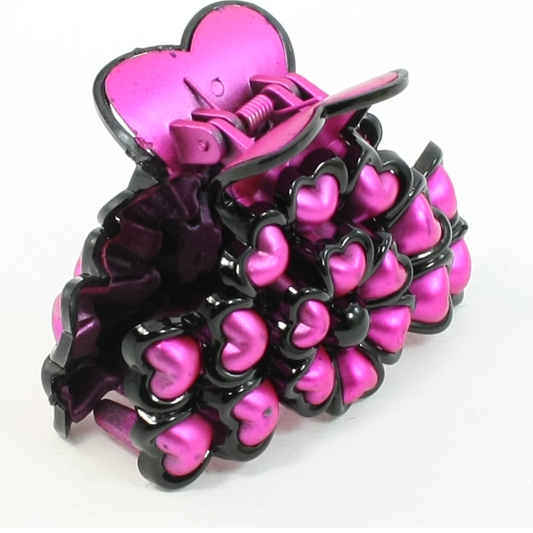 Fuchsia Black Plastic Heart Shaped Decor Flower Style Hair Claw Clip for Ladies