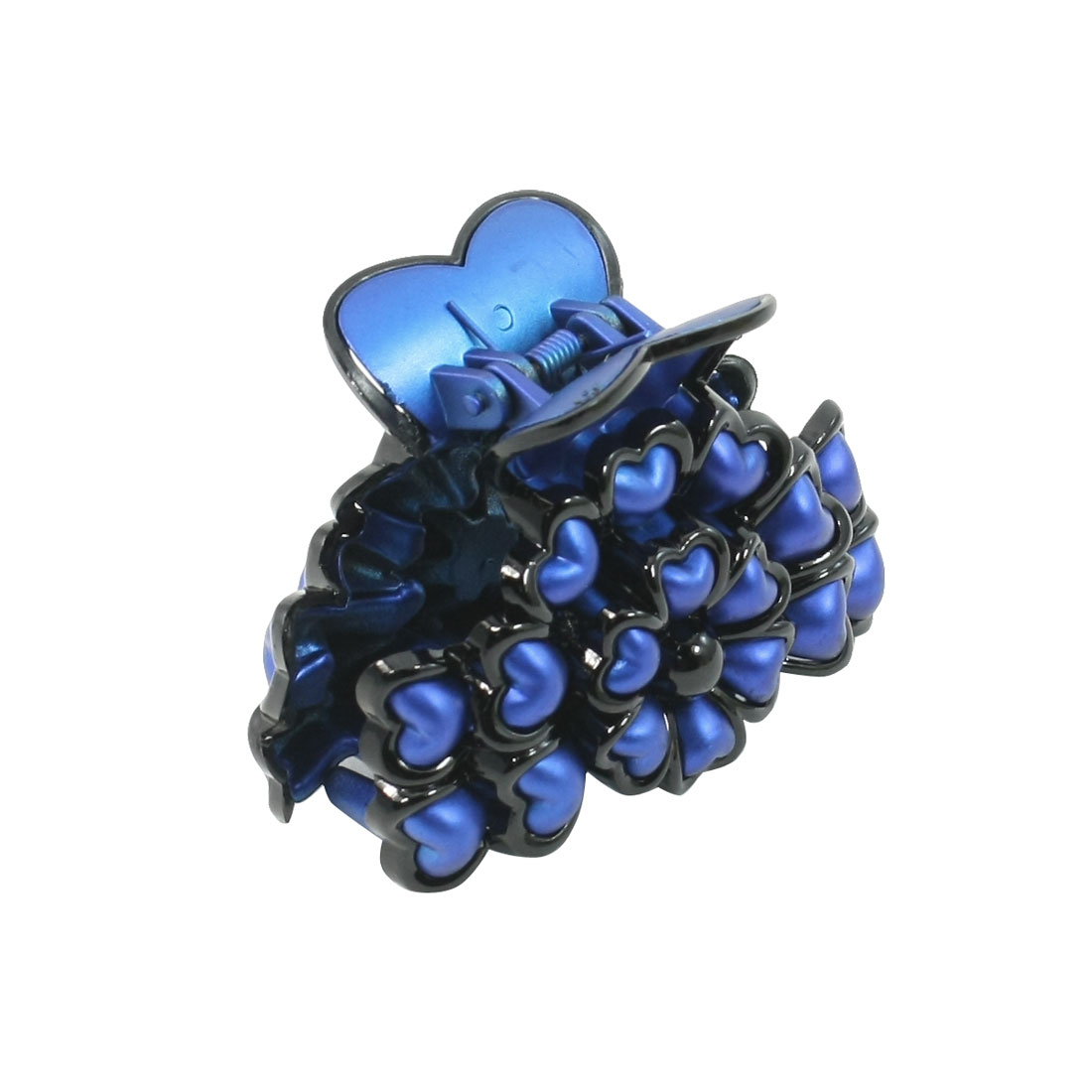 Dark Blue Plastic Heart Shaped Decor Flower Style Hair Claw Clip for Ladies
