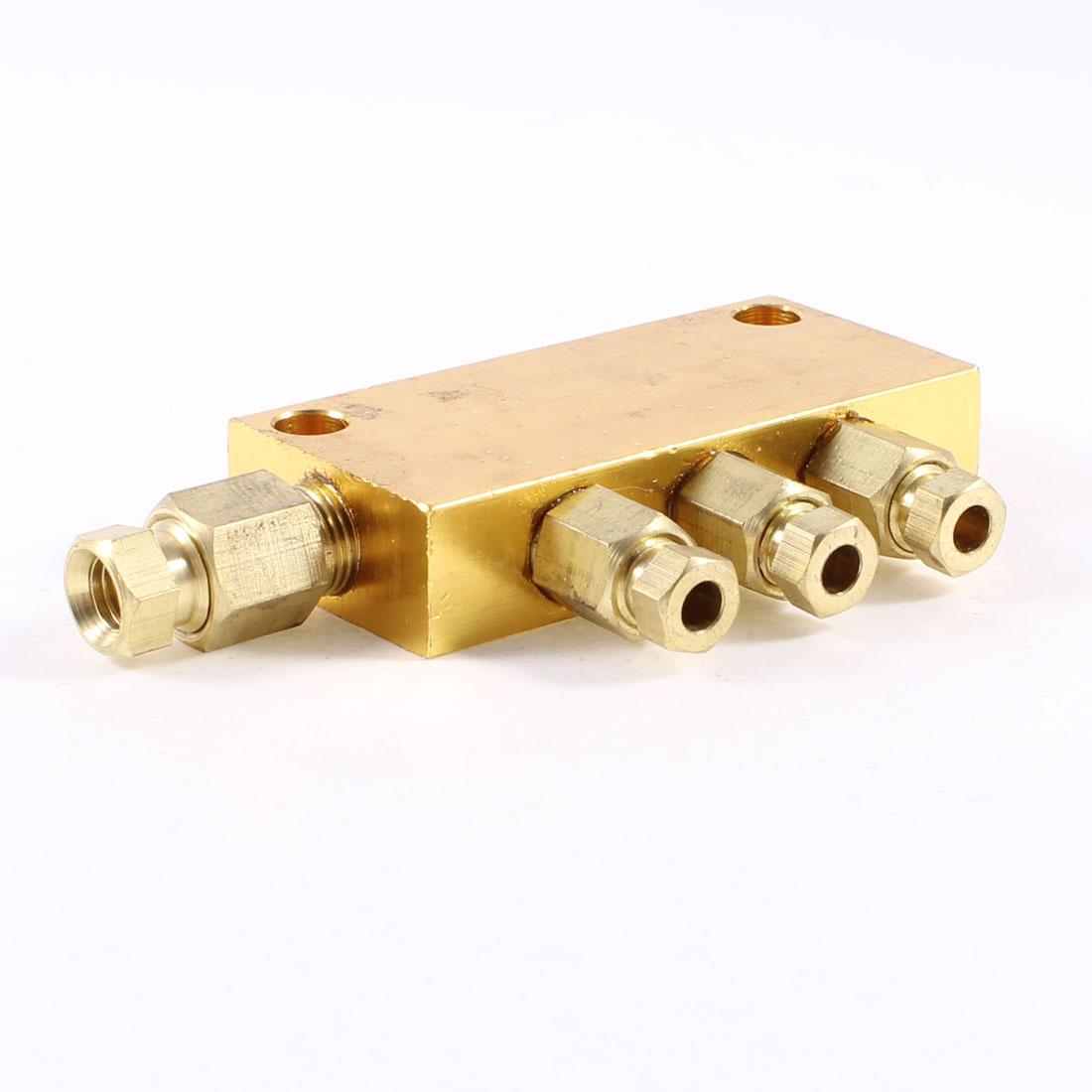 Air Pneumatic Brass Adjustable 3 Ways Oil Distributor Regulating Manifold Block