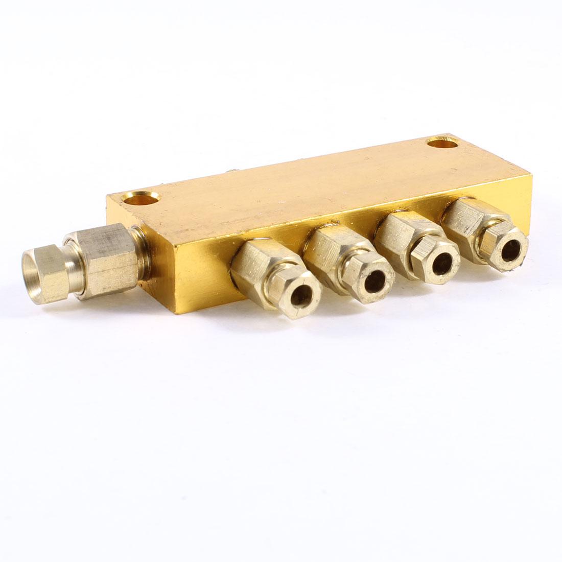 Air Pneumatic Brass Adjustable 4 Ways Oil Distributor Regulating Manifold