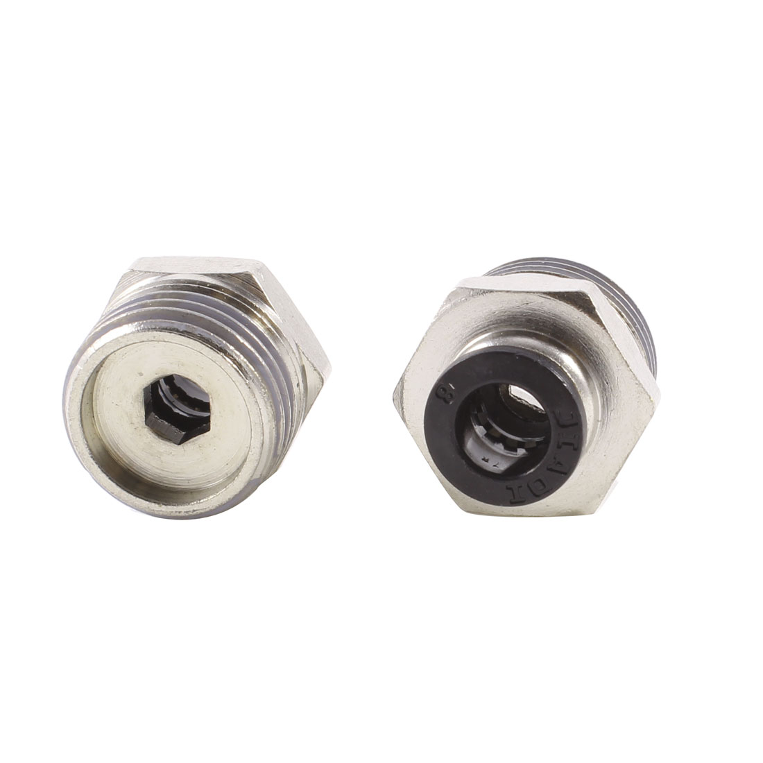 "2 Pcs 1/2"" PT OD Tubing 8mm Push In Joint Pneumatic Connector Quick Fitting"