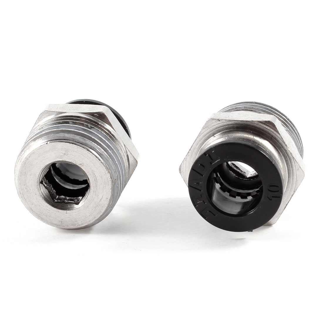 "2 Pcs 1/2"" PT OD Tubing 10mm Push In Joint Pneumatic Connector Quick Fitting"