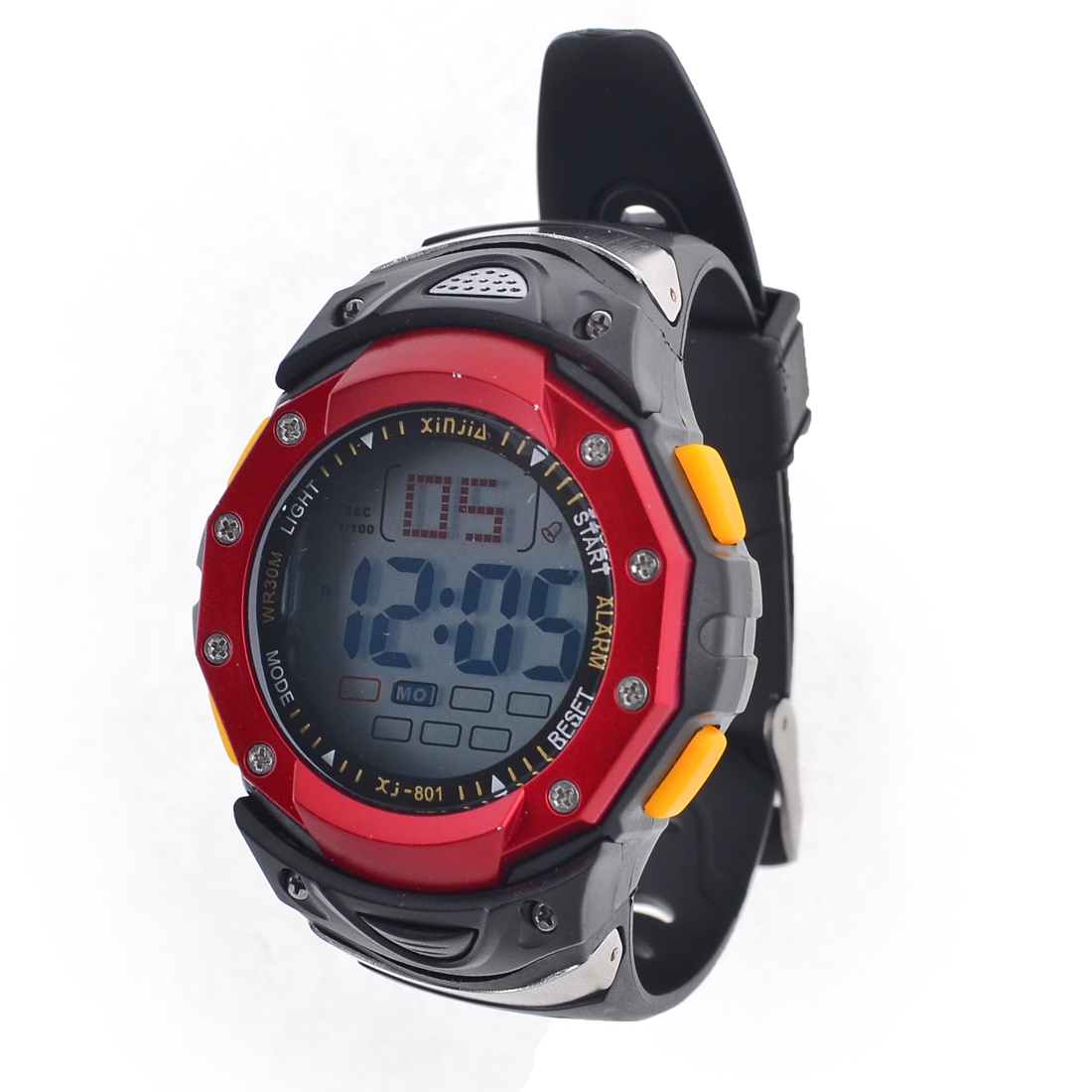 Women Black Plastic Adjustable Band Alarm Stop Digital Sports Watch Red