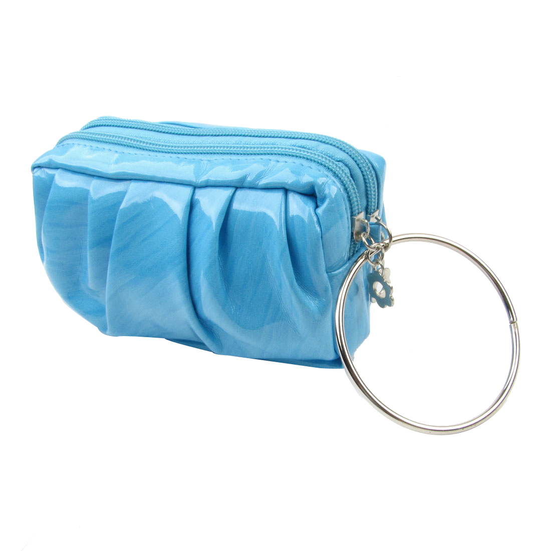 Women Wood Print Light Blue Faux Leather 2 Compartment Keys Money Holder Pursee