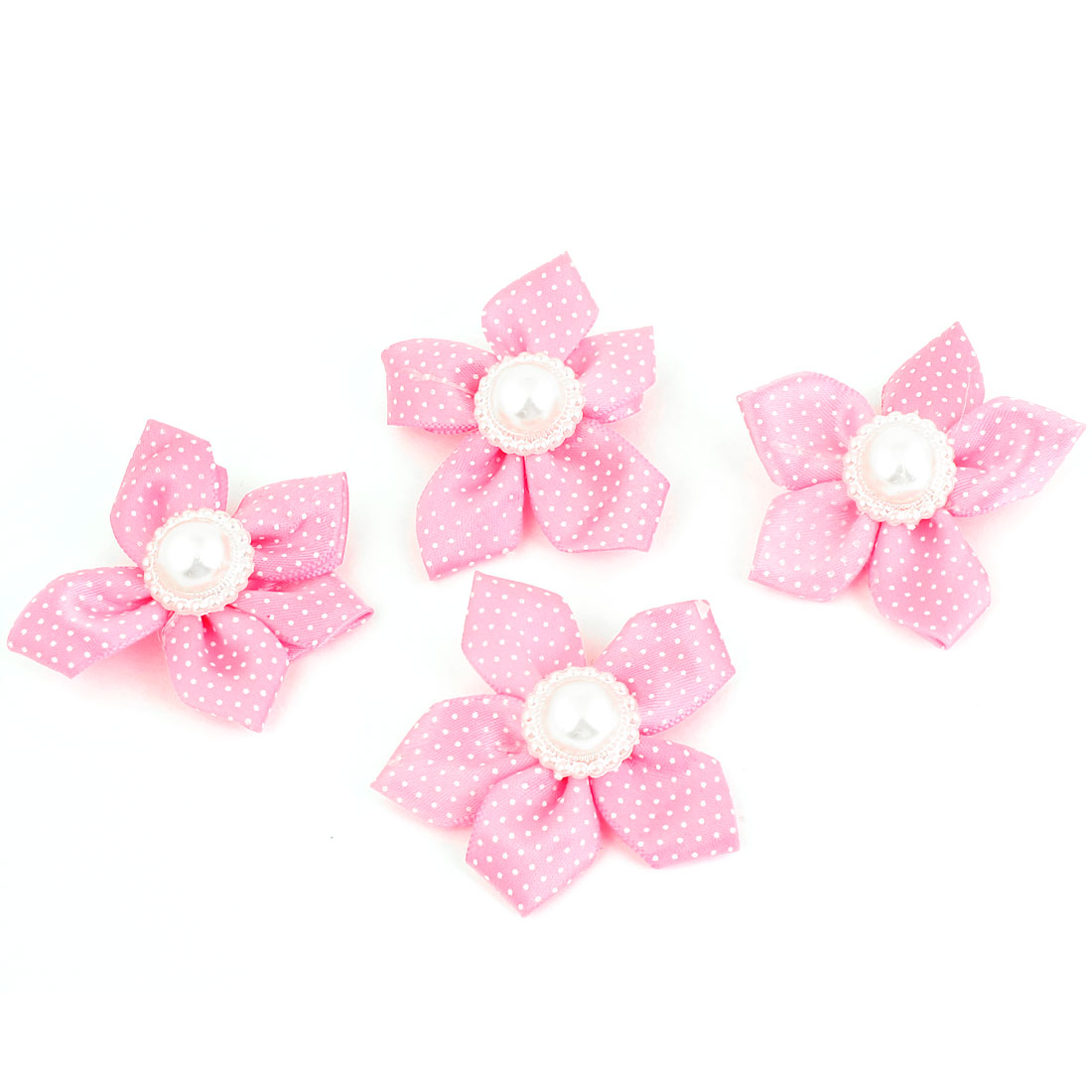 Schoolgirl Polyester Flower Imitation Pearl Accent Hair Clips Barrettes Fuchsia 4PCS