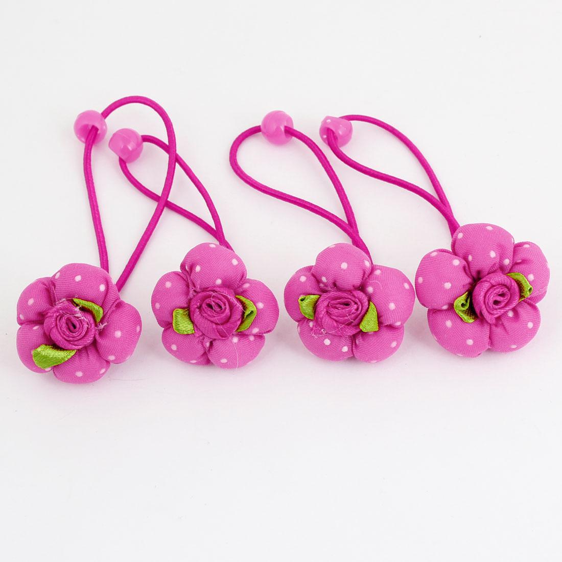 4 x Fuchsia Flower Rose Accent Stretch Hair Tie Ponytail Braid Holder for Girls