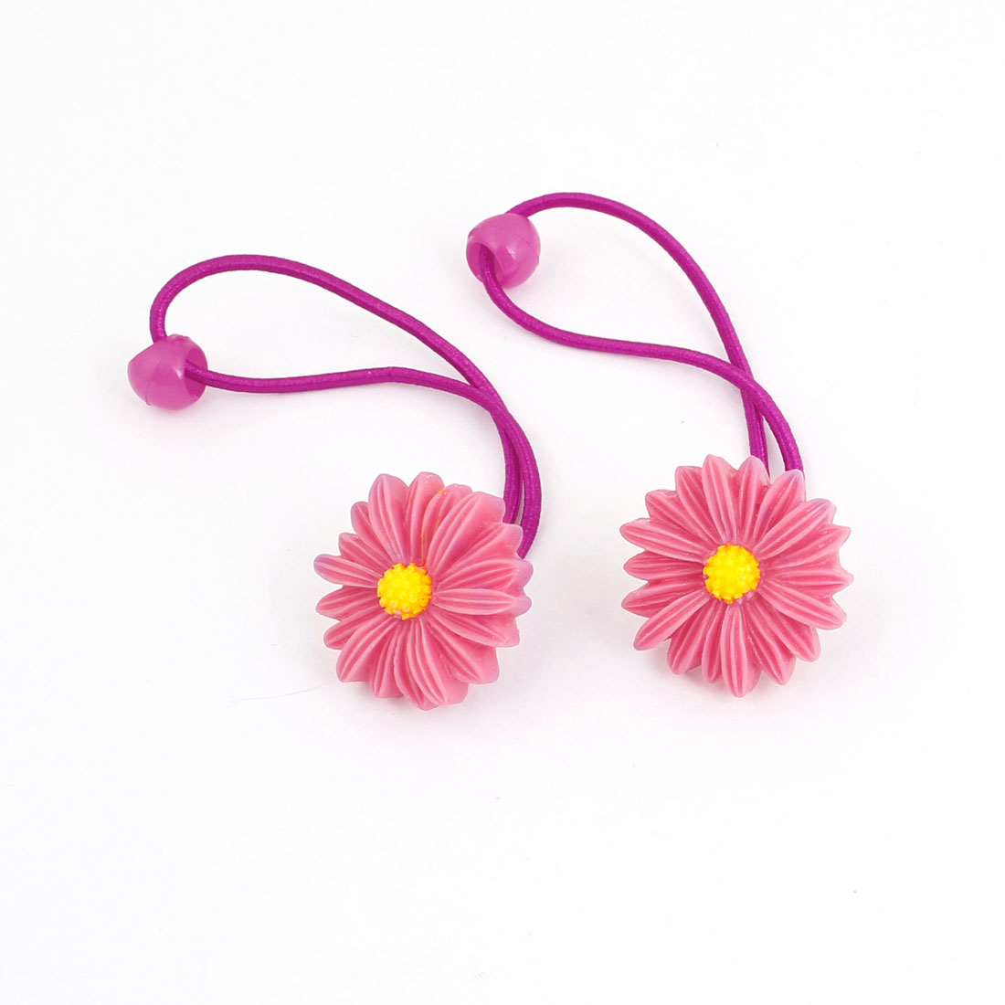 2pcs Watermelon Red Plastic Flower Daisy Accent Hair Tie Ponytail Braid Holder