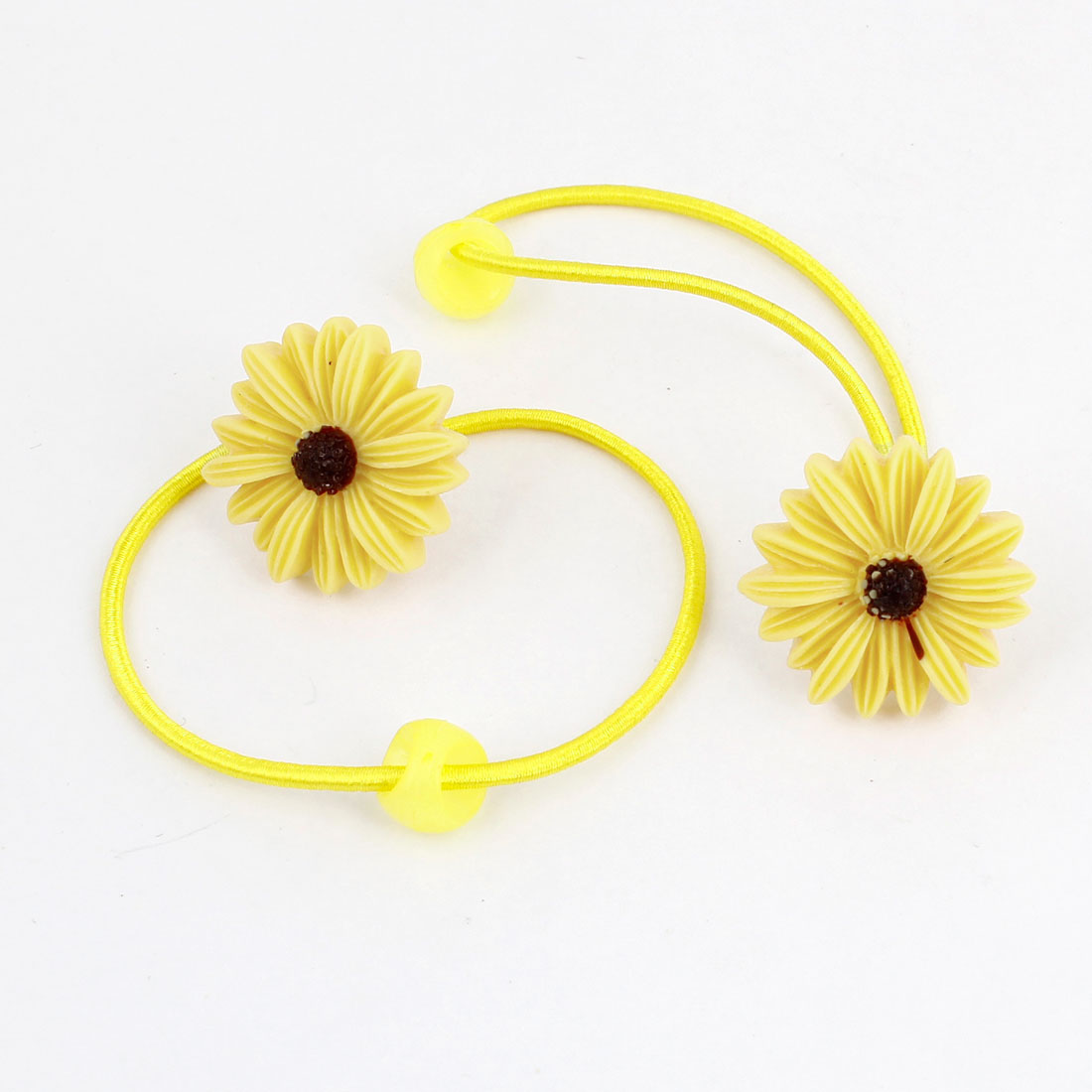 2PCS Yellow Floral Daisy Decor Stretchy Hair Band Ponytail Holder for Lady