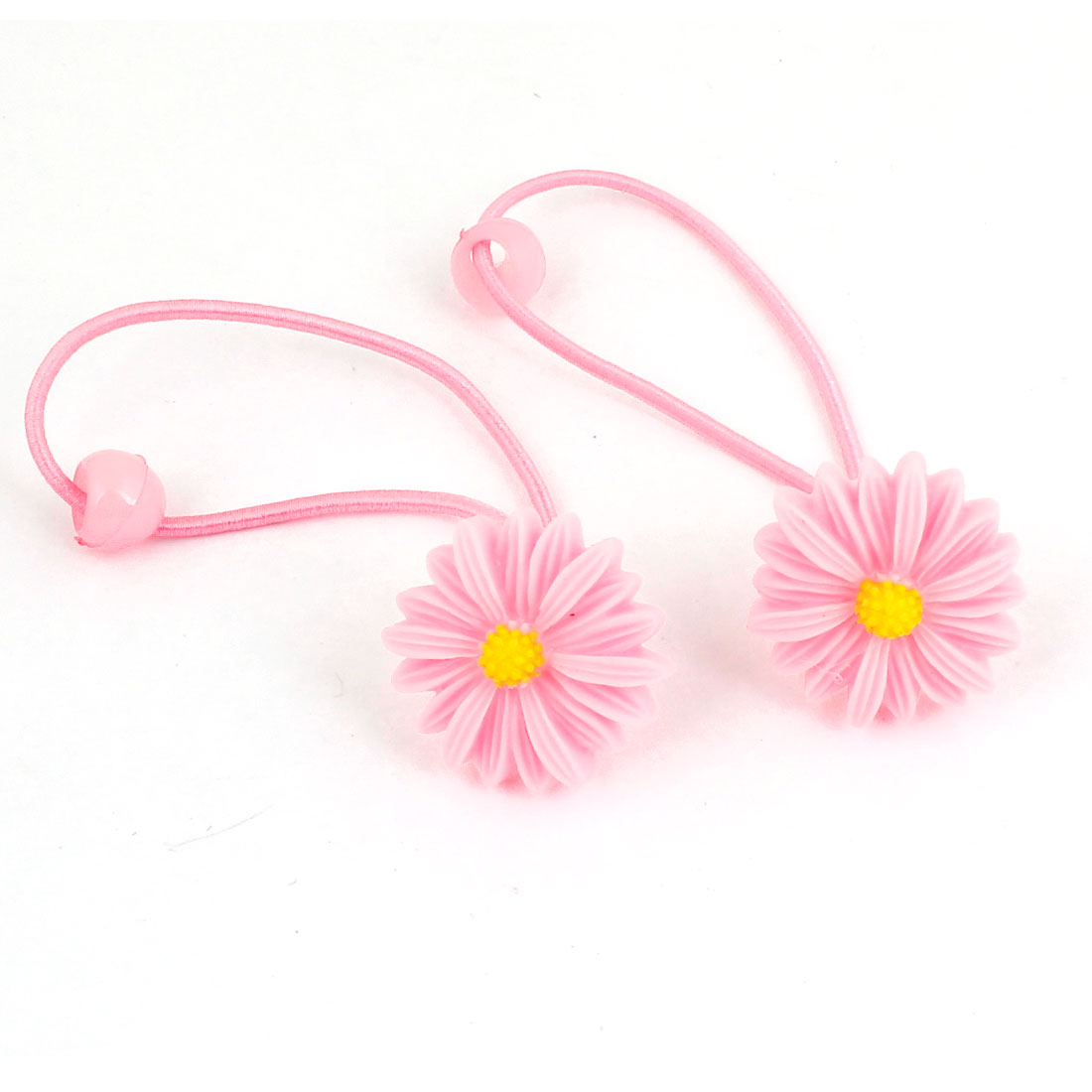 Lady Yellow Pink Flower Daisy Detail Elastic Hair Tie Band Ponytail Holder 2 Pcs